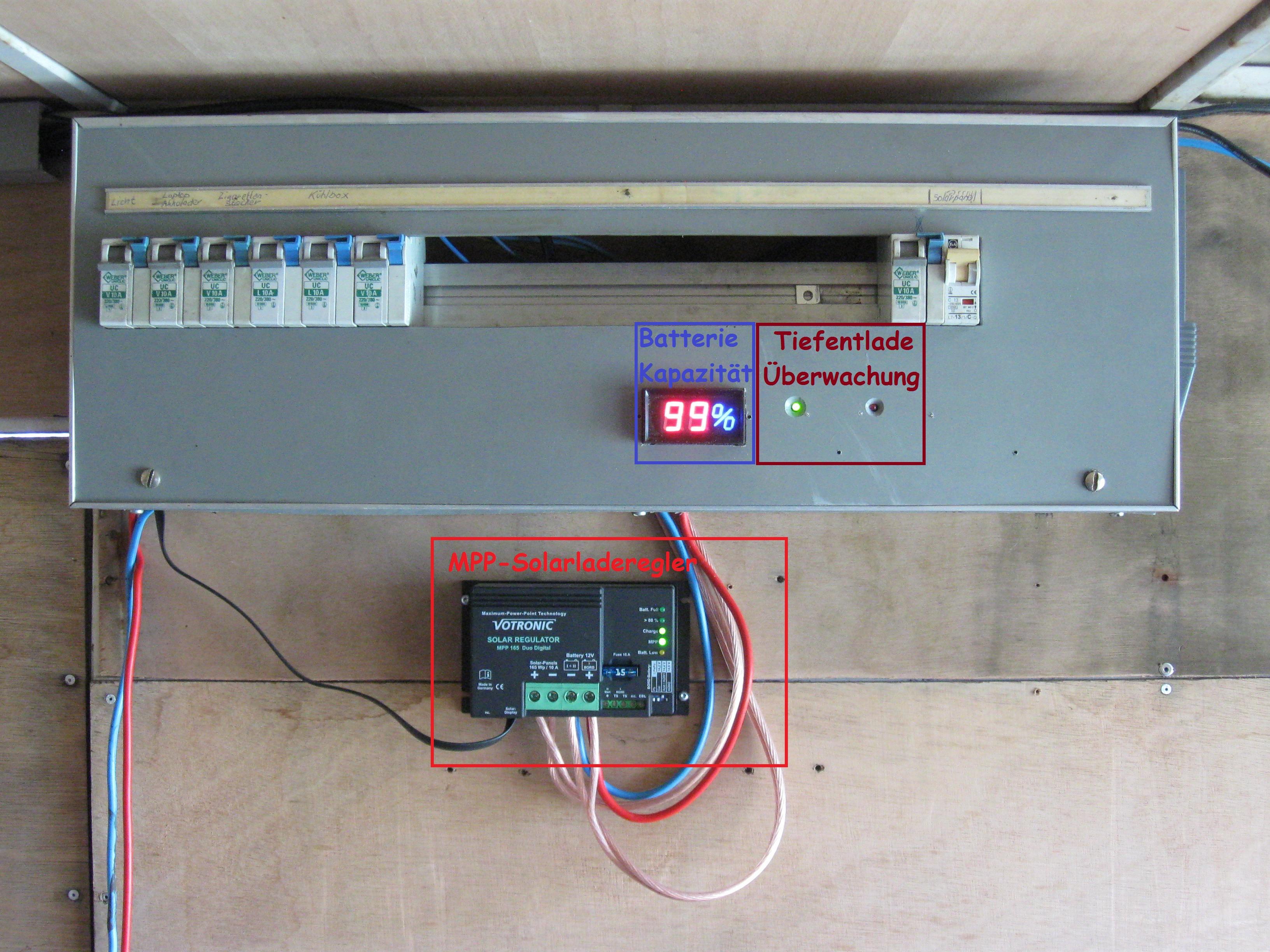 MPP-Solarladeregler und Tiefentladeüberwachung