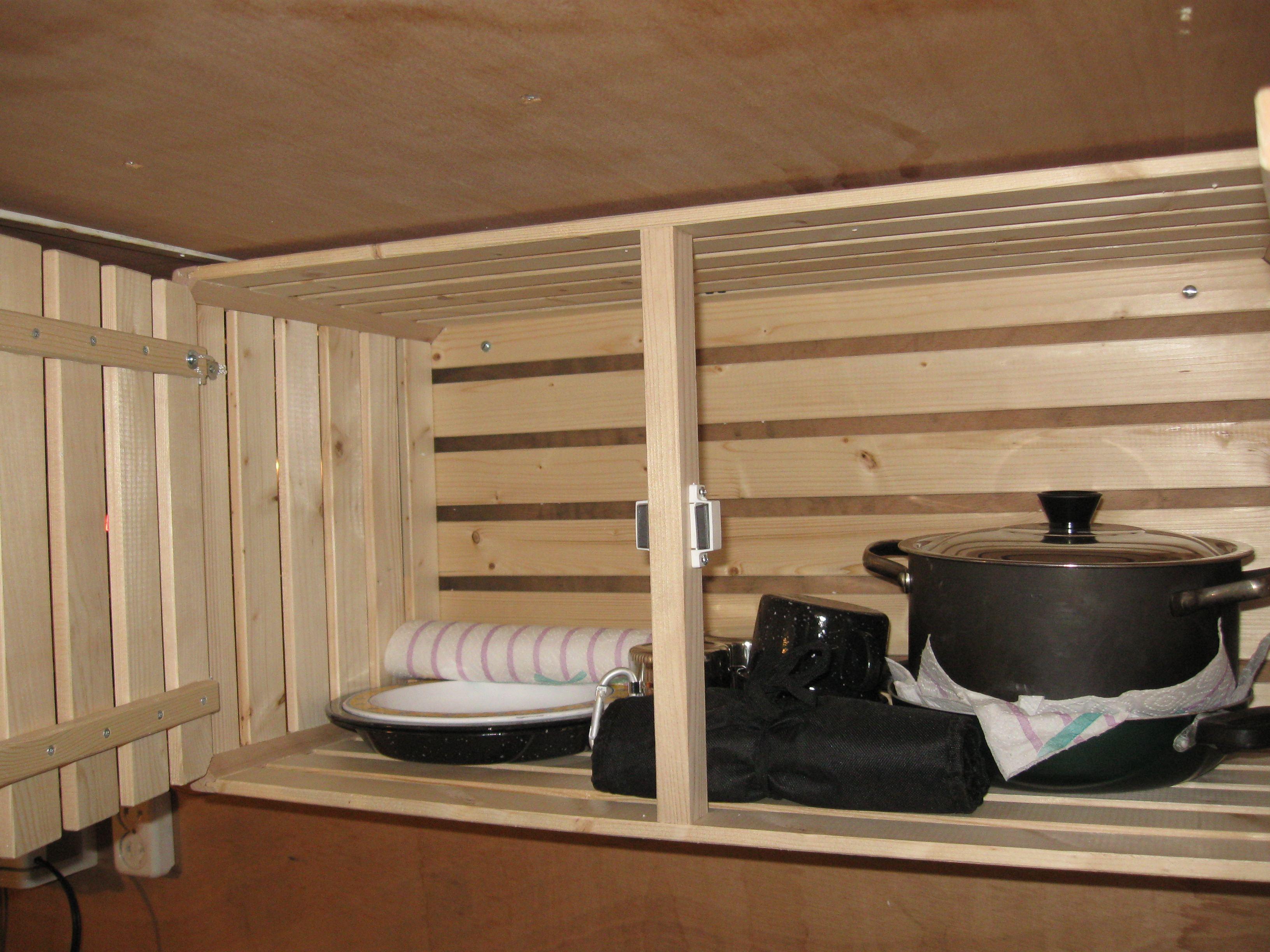 Ein paar Teller, Tassen, Pfannen und Besteck sind schon mal im 'Chuchikästli'