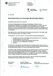 Einladung der Bevölkerung von Mitholz zur Informationsveranstaltung am 28.06.2018