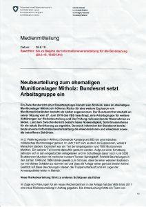 Seite 1 vom erhaltenen Beiblatt an der Informationsveranstaltung vom 28.06.2018 in Mitholz