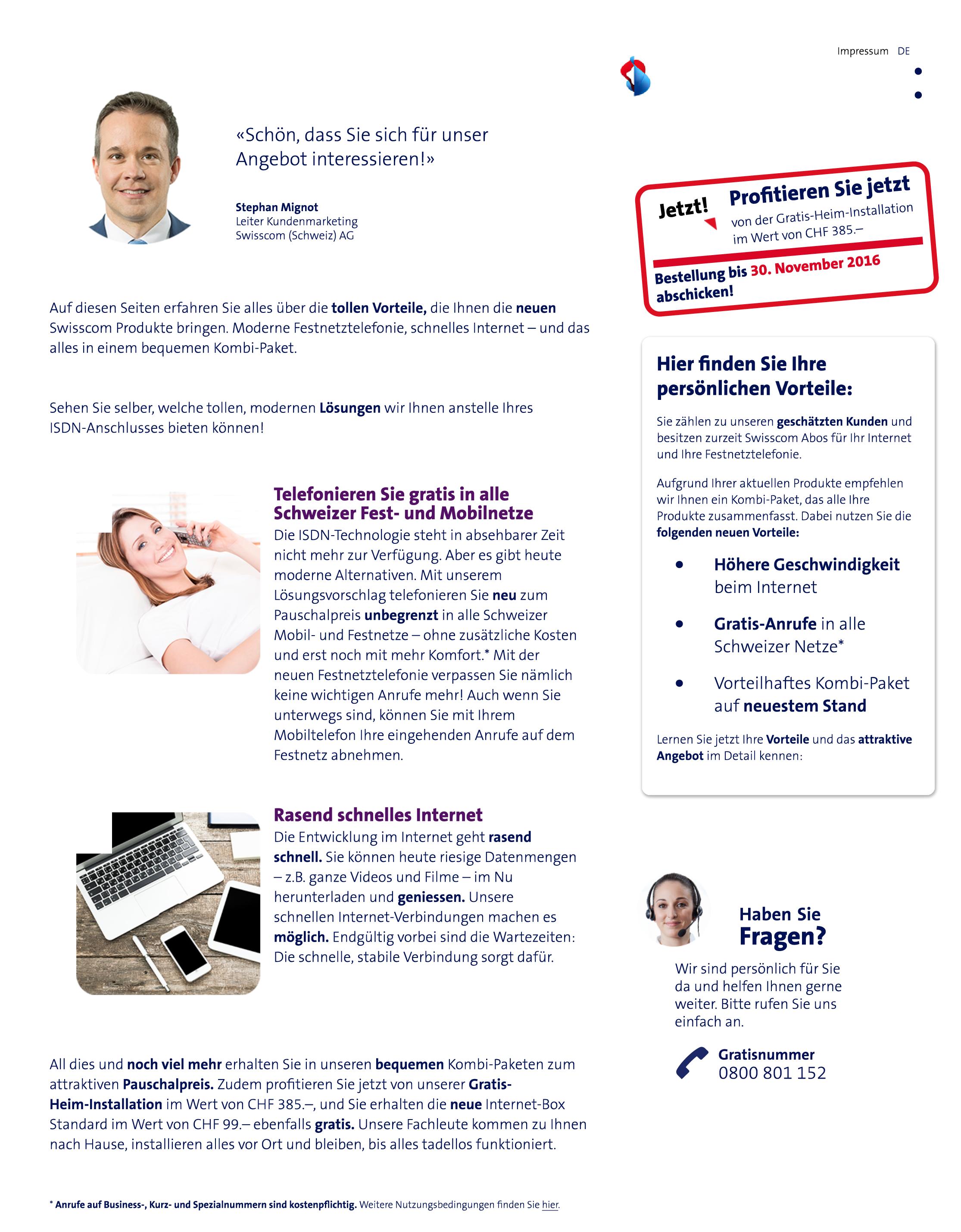 Erste Seite auf der für uns entwickelten Webseite zur Ablösung von ISDN