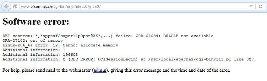 Fehlermeldung bei Aufrufen von ofcomnet.ch am 07.02.2017