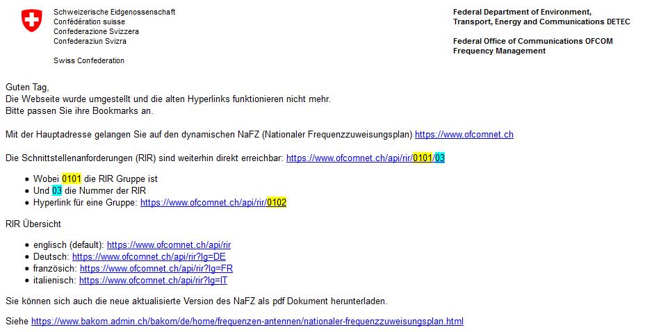 Informationen zur WEB-Seiten umstellung von ofcomnet am 11.02.2017
