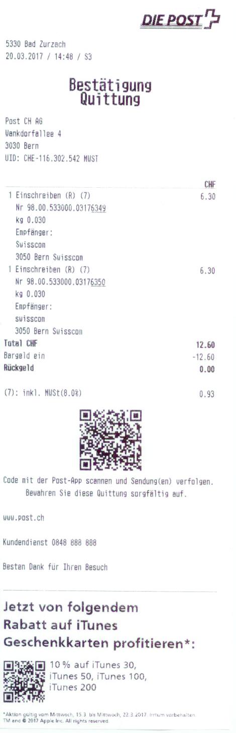 Beleg für Eingeschriebenen Brief an Swisscom wegen neuen AGB