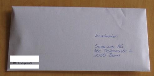 Brief an Swisscom wegen neuen AGB