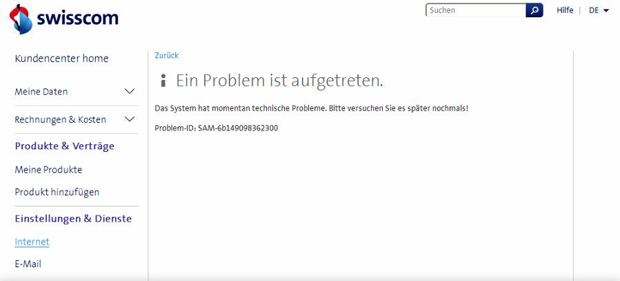 Fehlermeldung im Kunden-Login der Swisscom beim Versuch die WLan Einstellungen zu ändern