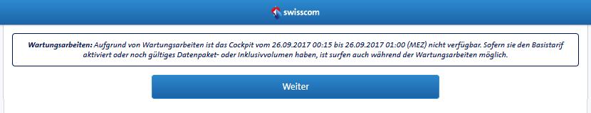Wartungsarbeiten bei Swisscom Cockpit...