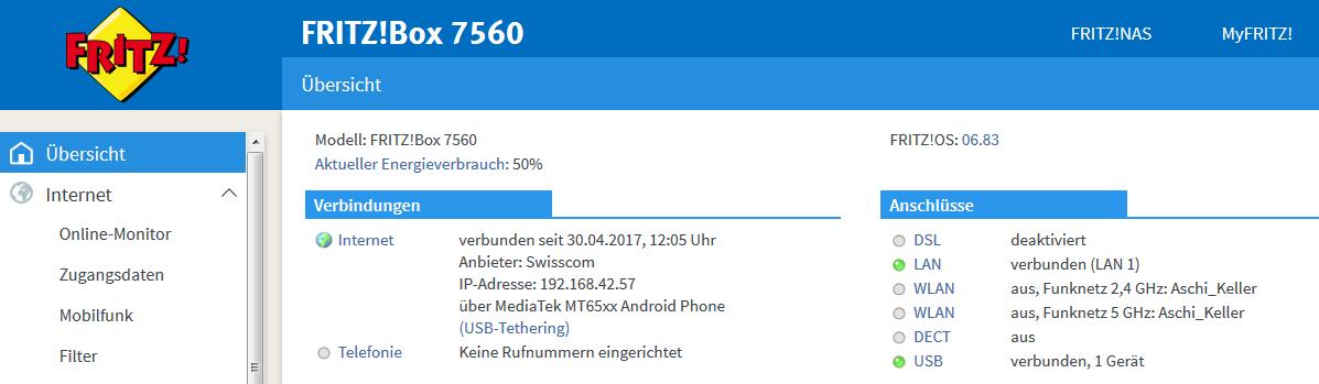 Mit FritzBox 7560 und Android-Smartphone auf das Internet