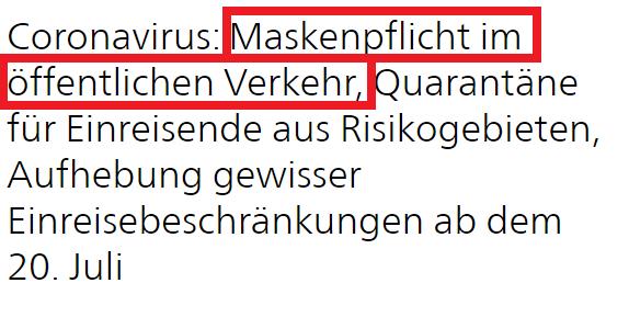 Maskenpflicht im ÖV der Schweiz, ab 6. Juli 2020