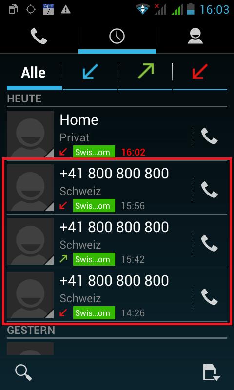 Anrufe von und an Swisscom-Hotline vom 23.11.2017
