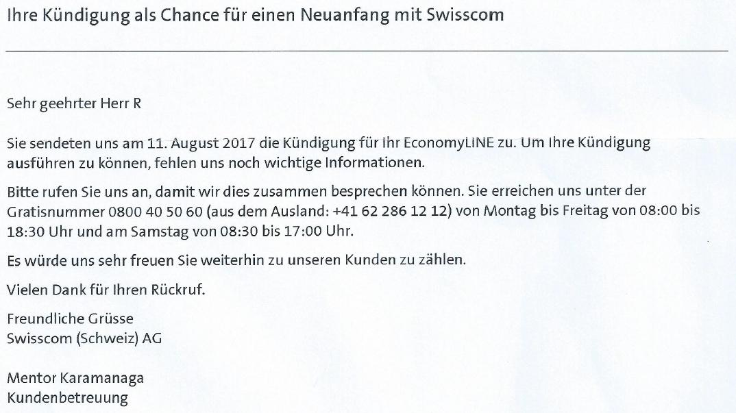 Brief von Swisscom mit dem Titel 'Kündigung als Chance' vom 19.08.2017