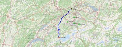 Route bei der Hinfahrt ins Berner-Oberland