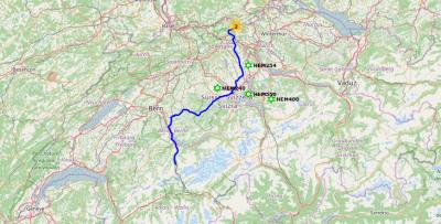 Route bei der Rückfahrt vom Berner-Oberland