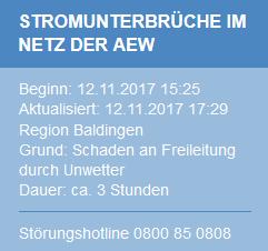 Meldung wegen Stromausfall in Baldingen am 12.11.2017