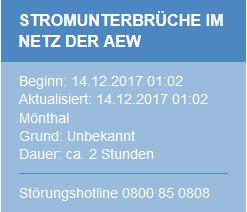 Meldung wegen Stromausfälle bei AEW am 14.12.2017