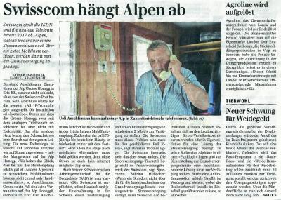 Zeitungsartikel im 'Schweizer Bauer' zum Thema Analogtelefonie Abschaltung