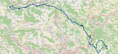Zurückgelegte Route Baldingen <-> Theilingen
