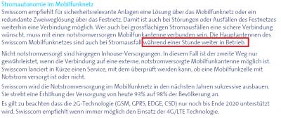 Auschnitt aus 'Faktenblatt Stromautonomie' vom April 2017 von der Swisscom