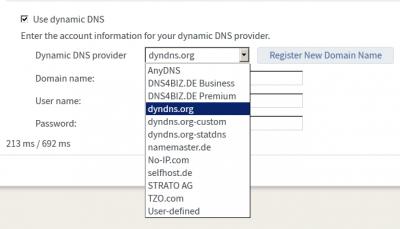Die von der FritzBox angebotenen DynDNS Anbieter