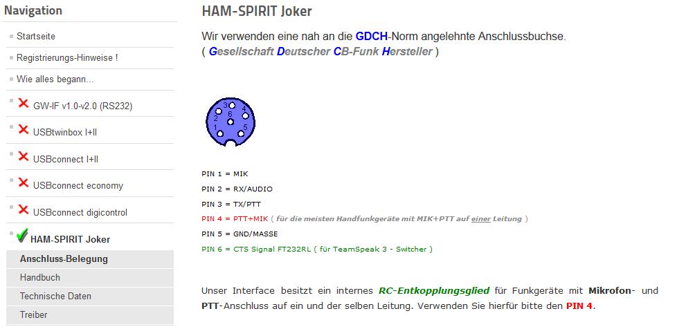 HAM-Spirit Joker Anschlussbelegung